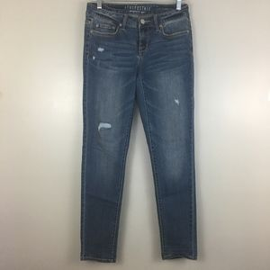 Aeropostale Medium Wash Distressed Jegging Jeans